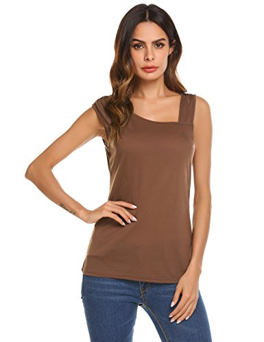 Dealwell Women Sexy One Off Shoulder Sleeveless Blouse Knit T-Shirt Tank Tops (Coffee, (Sexy Brown One Shoulder)