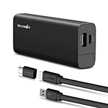 USB C Portable Power Bank, BlitzWolf 6700mAh PowerStorm Type-C External Battery, Dual USB Portable Charger with Type-C Input and Output for Nexus, PowerIQ, OnePlus 2, iPhone and more