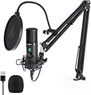 USB Condenser Microphone with One-Touch Mute and Gain Knob MAONO AU-PM421 Professional Cardioid Computer PC Mi