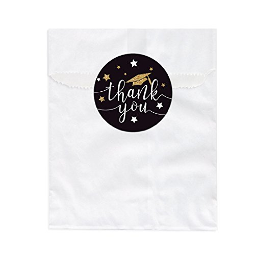 Andaz Press Black and Gold Glittering Graduation Party Collection, Favor Bag DIY Party Favors Kit, Graduation Thank You!, 24-Pack ()