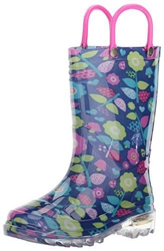 Western Chief Girls Light-Up Rain Boot, Pop Flower, 12 M US Little (Girls Flower Boots)