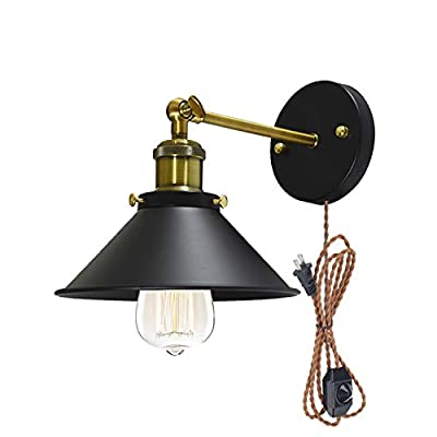 STGLIGHTING Metal Wall Sconce 1 Light Fixture E26 UL Weave Rope Dimmer Plug-in Switch Cord Lighting Vintage Industrial Loft Style Wall Lamp for Bathroom Dining Room Kitchen Bedroom Bulbs Included