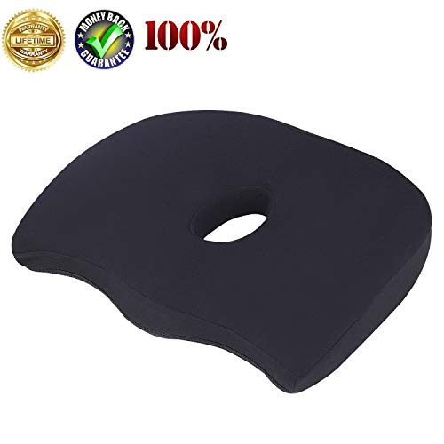 Uhealer Premium Comfort Seat Cushion Non-Slip Orthopedic Memory Foam Coccyx Cushion for Tailbone Pain Cushion for Office Chair Car Seat Back Pain Sciatica Relief Seat Cushion (Black)