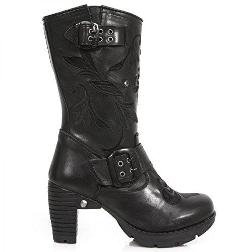 New Rock Boots M.tr049-s1 Gothic Hardrock Punk Damen Schnürstiefel Schwarz