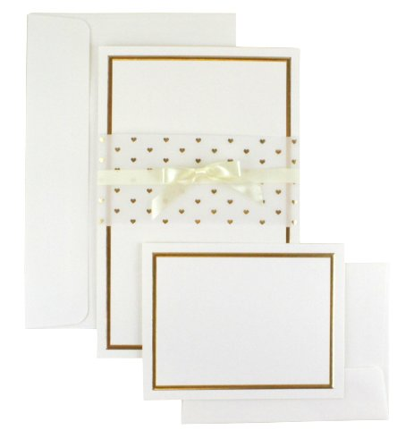 WILTON 25-Count Invitation Kit - Gold Heart Wrap