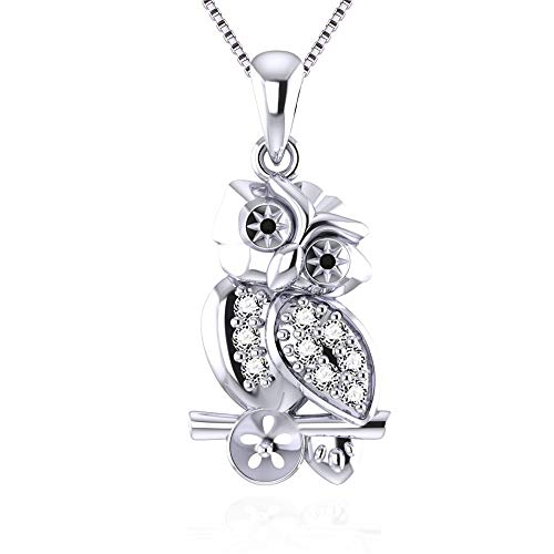 2 Pieces Shiny Cubic Zircons Owl Shape Pearl Pendant Setting in 925 Sterling Silver Jewelry Making