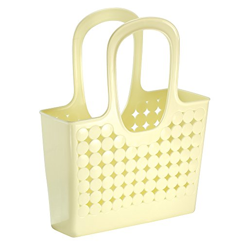 InterDesign Orbz Bathroom Shower Tote for Shampoo, Cosmetics, Beauty Products - Medium, Lemon Butterscotch Handle