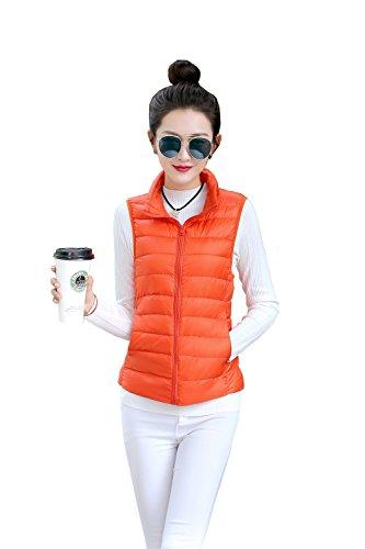 Quibine Femme Gilet Doudoune sans Manches Col Montant Jacket Orange
