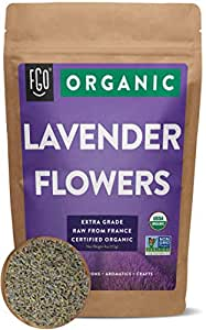 Organic Lavender Flowers Dried   Perfect for Tea, Baking, Lemonade, DIY Beauty, Sachets & Fresh Fragrance   100% Raw From France   Large 4oz Resealable Kraft Bag   by FGO