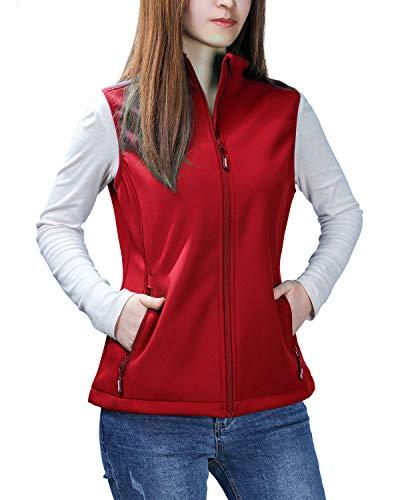 (Outdoor Ventures Women's Mia Lightweight Sleeveless Fall Windproof Soft Bonded Fleece Softshell Zip Vest Red)