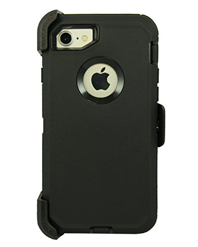 WallSkiN Turtle Series Cases for iPhone 7 / iPhone 8 (Only) Full Body Protection with Kickstand & Holster - Shadow (Black/Black)