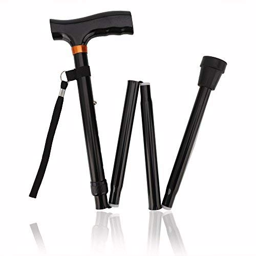 Trekking Poles, Walking Stick for Men Women Portable Trail Poles Folding Cane with T Handle, Lightweight,Quick Locks,Anti Shock, Rubber Base for Hiking Camping ()