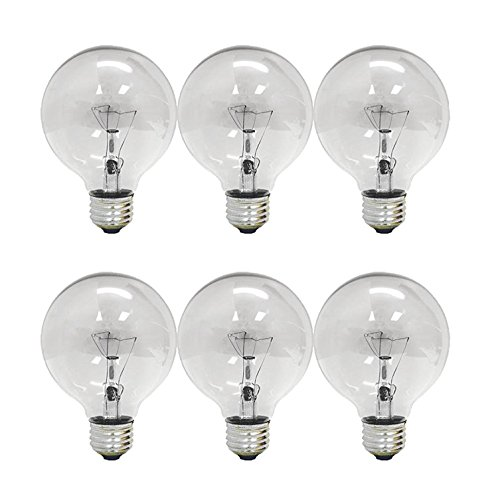 Set of 6 General Electric G25 Decorative Clear 60w Light Bulbs 660 Lumens
