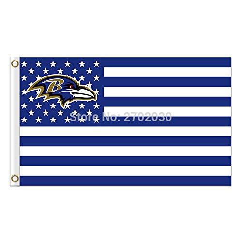 NFL Baltimore Ravens Stars and Stripes Flag Banner - 3X5 FT - White USA Flag