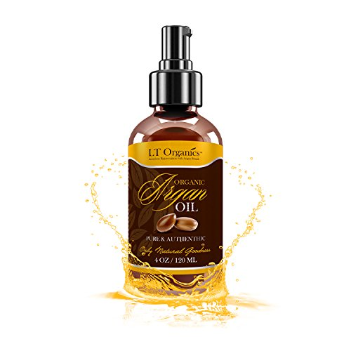 Triple Virgin Organic Argan Oil for Hair - HUGE 4 OZ Moroccan Argan Oil Spray For Face by LT Organics - Best For Hair Growth, Skin, Face & Nails - 100% Pure Unscented Moisturizer & Conditioner