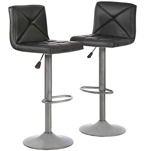 - BestOffice Barstools Bar Height Adjustable Modern Swivel Back Counter Stools PU Leather Dinning Chairs Set of 2, Black