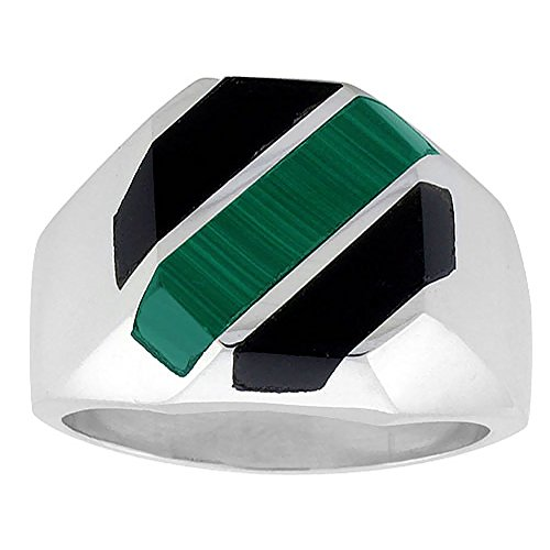 Sterling Silver Black Obsidian & Malachite Ring for Men Octagonal 3 Stripes Solid Back Handmade, size 11