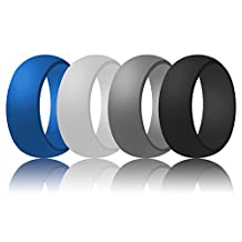 Silicone Wedding Ring For Men, LUNIQI Rubber Safe Band For Love, Couple and Outdoor Active Exercise Style-4 Rings Pack(Black, Gray, White, Blue)