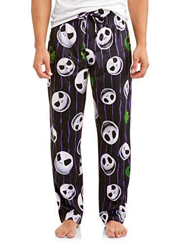 Disney Nightmare Before Christmas Men's Jack Skellington Skulls Graphic Lounge Pants, (Small, Black Multi)
