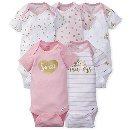 GERBER Baby Girls' 5-Pack Variety Onesies Bodysuits, Princess Arrival, Newborn
