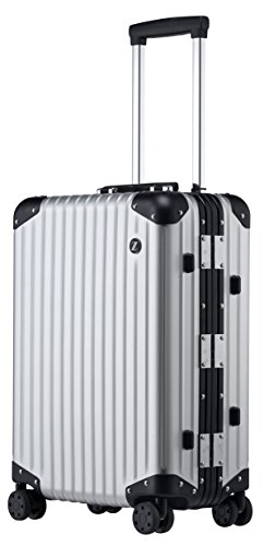 LANZZO Aluminum Magnesium Alloy Hardshell Luggage with Wheels Spinner TSA Lock Approved Travel Suitcase, 20