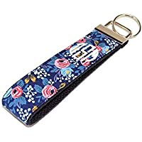 Monogrammed Navy and Coral Flowers Keychain Fabric Key Fob