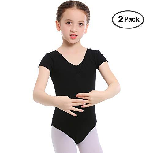 (Koolen Kid Girls' Ballet Basic Short Sleeve Leotard, Adjustable V/U Neck?Leotard For Dance, Gymnastics, Black2Pcs, TAG100(5Y))