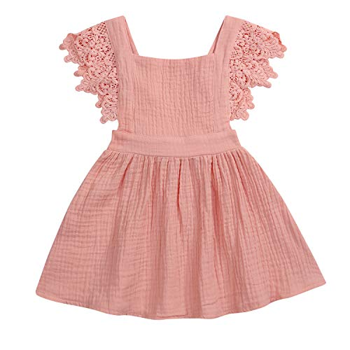 Pink Baby Dress - YOUNGER TREE Toddler Baby Girls Summer Cotton Lace Sleeve Princess Overall Dress Backless Sundress (Pink, 18-24 Months)