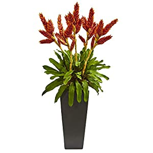 Nearly Natural 1746 Tropical Bromeliad Artificial Plant in Black Vase Silk Arrangements, Orange 19