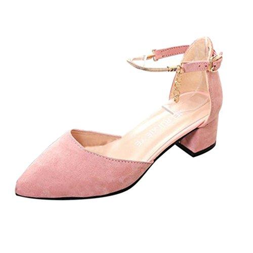GBSELL Women High Heels Wedding Shoes Sandals Platform Wedge Shoes (Pink, 7.5)