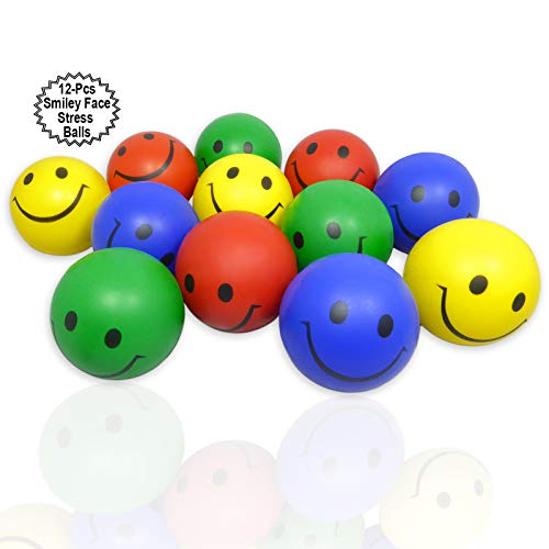 Anapoliz Smiley Face Stress Balls 12 Pcs | 2.5
