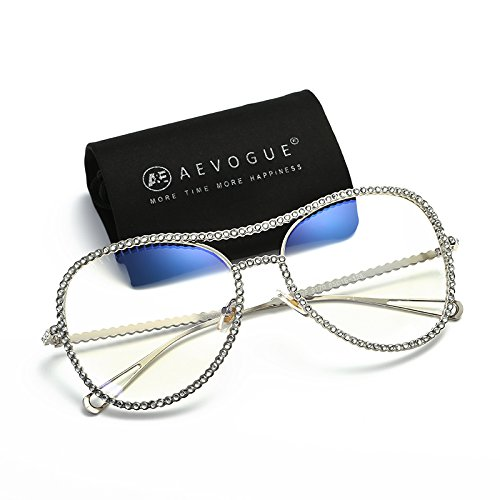 AEVOGUE Aviator Sunglasses For Women Goggles Rhinestone Decorated Frame Safety Glasses AE0470 (Silver, - Sunglasses Ae