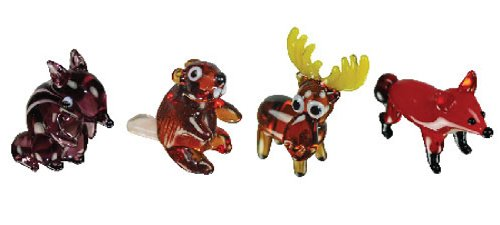- Looking Glass Miniature Collectible - Chipmunk / Beaver / Moose / Fox (4-Pack)