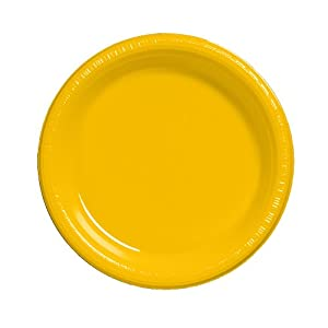 Wonderful Creative Converting Touch Of Color 20 Count Plastic Dinner Plates, School  Bus Yellow