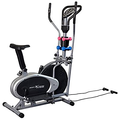 Body Xtreme Fitness 4-in-1 Elliptical Trainer Exercise Bike, Home Gym Equipment, Compact Design, Hand weights, Resistance Bands