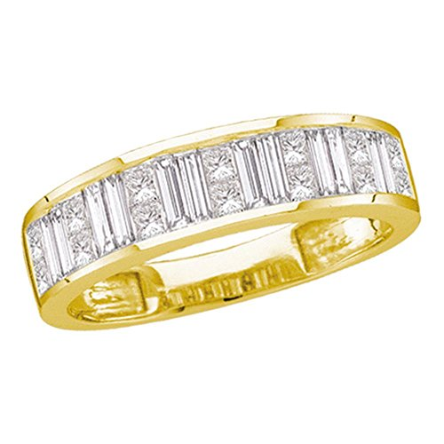 - 14kt Yellow Gold Womens Baguette & Princess Diamond Wedding Anniversary Band 1.00 Cttw