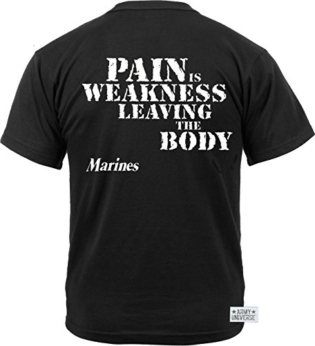 "Army Universe Black USMC US Marines Pain is Weakness Leaving The Body Double Sided T-Shirt Pin (Size X-Large / 45""-49"") 2"