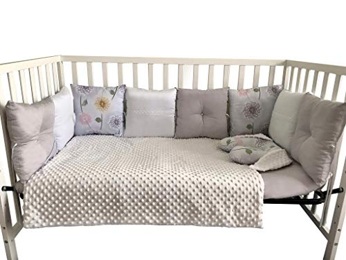 Sweet Dreams Baby-Crib Bedding Set for Infants & Toddlers, 15-Piece Set (Grey/Flowers)