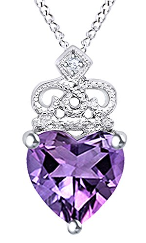 Wishrocks Simulated Amethyst & Diamond Accent Crown Pendant Necklace in 14K White Gold Over Sterling Silver ()