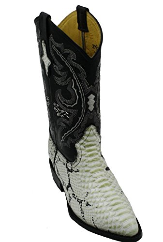Men Genuine Cowhide Python Print Leather J Toe Western Cowboy Boots_Natural_10