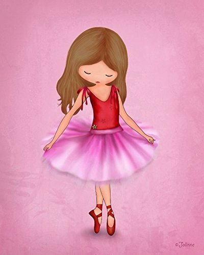 Ballerina Dancer Pink Wall Art for Girls Room or Nursery Kids Bedroom Decor Dancing