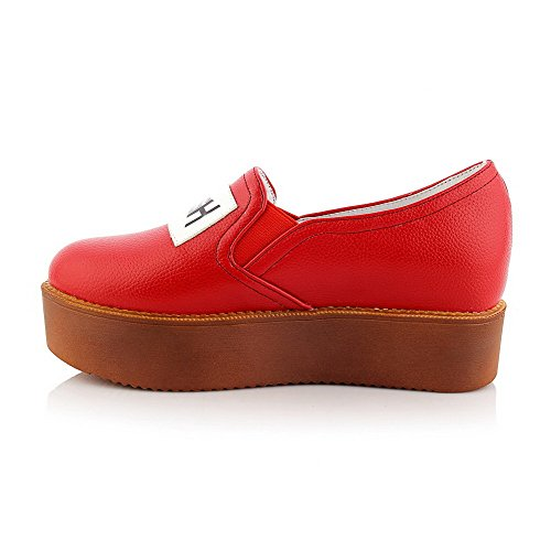 Amoonyfashion Para Mujer Assorted Color Low Heels Pull On Round Closed Toe Bombas-zapatos Rojo