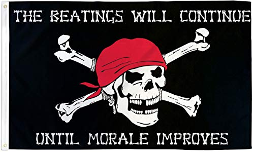 PIRATE FLAG 3x5 Beatings will Continue until Morale Improves Jolly Roger Ship -