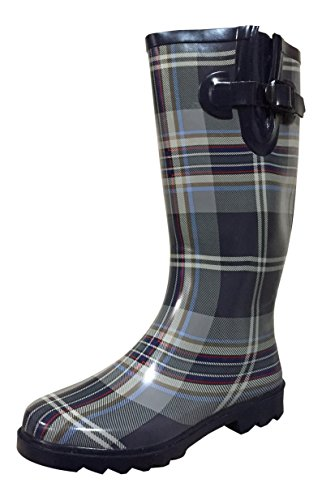 Boots Mstkh Rain Navy Plaid Rubber grey Womens Psw xafqII