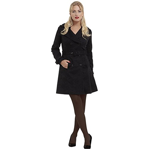 Womens-Voodoo-Vixen-Susan-Lace-Overlay-Double-Breasted-Coat-Black