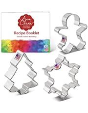 Ann Clark Cookie Cutters Christmas/Holiday Cookie Cutter Set with Recipe Book - 3 Piece - Snowflake, Gingerbread Man and Christmas Tree - USA Made Steel