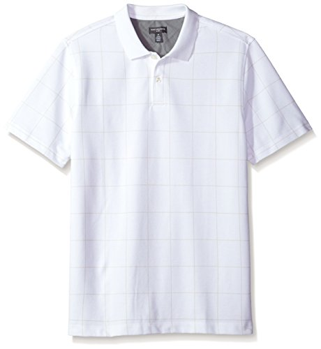 Van Heusen Men's Short Sleeve Printed Windowpane Polo Shirt, New Bright White, X-Large