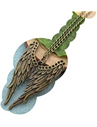 Long Angel Wing Necklace, Feather Jewelry, Bohemian Necklace,ancient Bronze Pendant