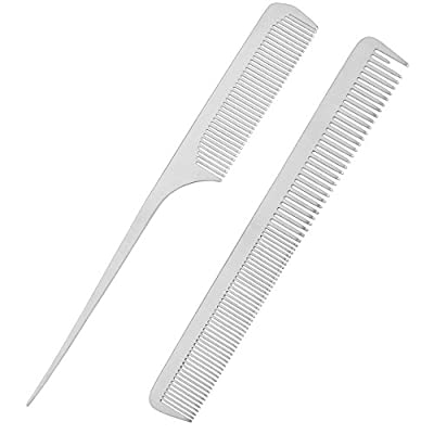 CCbeauty 2-Packs Metal Barber Comb Set Pack for Men & Women,Professional Hairdressing Salon Combs Hair cutting Tool Detangler Comb with Leather Bag
