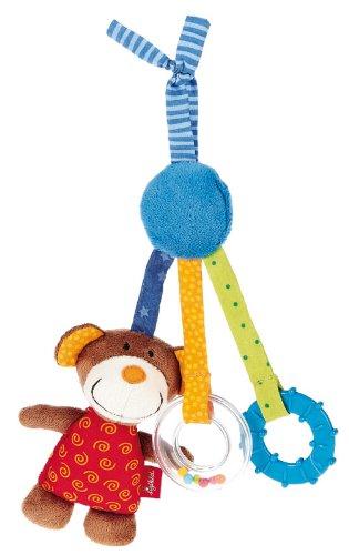 sigikid, Jungen und Mädchen, Aktiv-Anhänger Bär mit Beißring und Quietschkissen, Rot/Blau/Braun, 40496